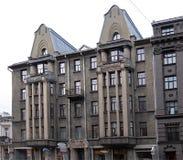 Riga, Terbatas 49-51, construisant dans le style du romantisme national image libre de droits