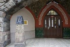 Riga, Terbatas 15-17, les éléments de l'entrée principale photos libres de droits