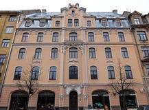 Riga Terbatas 63, neobaroque, beståndsdelar av fasaden Arkivbilder