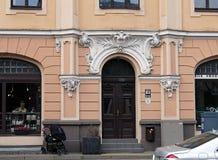 Riga Terbatas 63, neobaroque, beståndsdelar av fasaden Arkivfoton