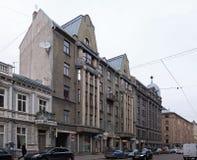 Riga Terbatas 49-51 som bygger i stilen av nationell romantik Royaltyfri Bild