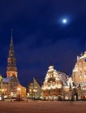 Riga, the town hall area,. Sacred Peter's church and the house Black-headed at night Royalty Free Stock Image