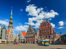 Riga Town Hall Square, House of the Blackheads and St. Peter's C Royalty Free Stock Photo