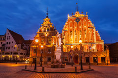 Riga Town Hall Square, House of the Blackheads and Stock Photography