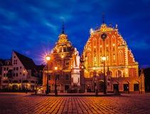 Riga Town Hall Square at night, Latvia Royalty Free Stock Photography