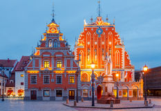 Riga. Town Square at night Royalty Free Stock Images