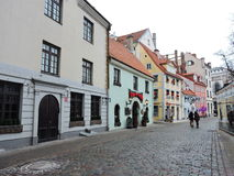 Riga town street, Latvia Stock Images