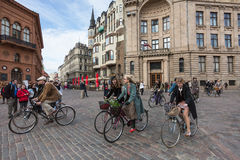 Riga Tweed Run participants Royalty Free Stock Image