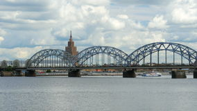 Riga view with bridge over river, latvia stock video footage