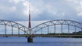 Riga view with bridge over river, latvia stock video
