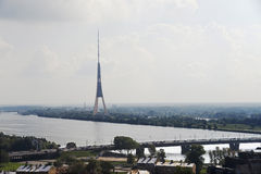 Riga. View of a television tower. Royalty Free Stock Photography