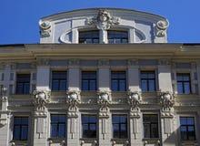 Riga, Vilandes 2, casa de apartamento, elementos da decoração fotografia de stock royalty free
