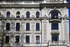 Riga, Vilandes 1, historic building with modern elements and eclectic, facade elements. LV Stock Image
