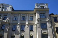 Riga, Vilandes 1, uma casa ao estilo dos elementos decorativos da decoração de Art Nouveau fotos de stock