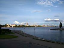 Riga, vista de la ciudad de la plataforma de observación Imagen de archivo libre de regalías
