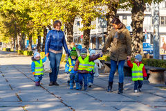 Riga. Young children for a walk Royalty Free Stock Photo