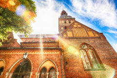 Rigas Cathedral. Evangelical Lutheran Cathedral  Rigas Doms in the latvian capital Riga , in the sunrays Royalty Free Stock Photo