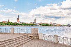 Rigas Cathedral and Saint Peters Church view, Latvia Stock Photography