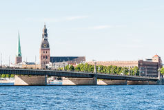 Rigas Cathedral view across the Daugava river. Royalty Free Stock Photo