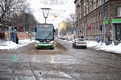 Rigas Satiksme Αγγλικά: Η κυκλοφορία της Ρήγας, είναι μια municipally-κύρια αρχή δημόσιου μέσου μεταφοράς και χώρων στάθμευσης πο στοκ φωτογραφίες με δικαίωμα ελεύθερης χρήσης