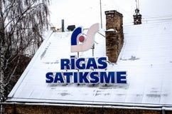 Rigas Satiksme Inglês: O tráfego de Riga, é serviço Riga de uma autoridade municipalmente-possuída do transporte público e do est imagem de stock royalty free