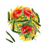 Rigate del penne de las pastas con las verduras stock de ilustración