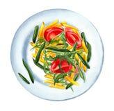 Rigate del penne de las pastas con las verduras en la placa ilustración del vector