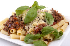 Rigatoni with Bolognese Sauce Stock Photos