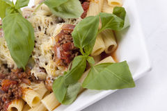 Rigatoni with Bolognese Sauce Royalty Free Stock Photography