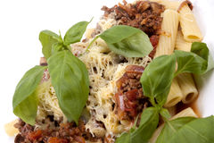 Rigatoni with Bolognese Sauce Royalty Free Stock Image