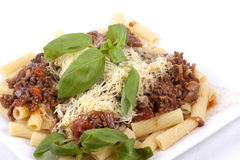 Rigatoni with Bolognese Sauce Royalty Free Stock Photos