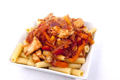Rigatoni with Chicken Arrabbiata Sauce Stock Images