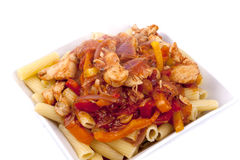 Rigatoni with Chicken Arrabbiata Sauce Royalty Free Stock Photo