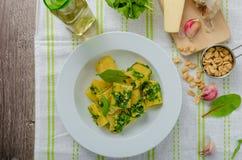 Rigatoni with garlic and herbs pesto Stock Photo