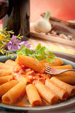 Rigatoni with grappa pacetta pork Royalty Free Stock Photos