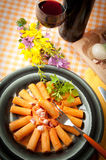 Rigatoni with grappa pacetta pork Royalty Free Stock Photography