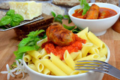 Rigatoni italian pasta with tomato sauce Stock Photography