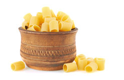 Rigatoni italian pasta in wood bowl Stock Photos