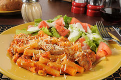 Rigatoni with Italian sausage and marinra sauce Royalty Free Stock Image