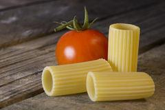 Rigatoni italiano de las pastas con el tomate fotografía de archivo libre de regalías