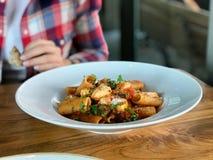 Rigatoni makaron z oberżyną, Pomidorowym kumberlandem, Mozarella, Parmezańskim serem i basilów liśćmi, obraz royalty free