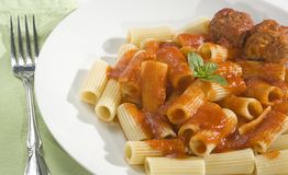 Rigatoni and Meatballs Royalty Free Stock Photography