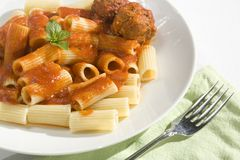 Rigatoni and Meatballs Stock Photos