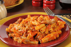 Rigatoni and meatballs closeup Royalty Free Stock Images