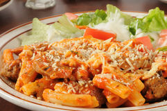 Rigatoni with meatballs and sausage Royalty Free Stock Photos