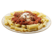 Rigatoni with Mini Meatballs. Rigatoni with tomato sauce and mini meatballs Stock Photography