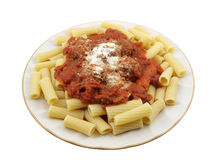 Rigatoni with Mini Meatballs. Rigatoni with tomato sauce and mini meatballs Stock Images