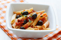 Rigatoni with Olives and Tomat Royalty Free Stock Photos