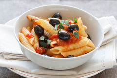Rigatoni with Olives and Tomat Stock Image