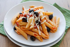 Rigatoni with Olives and Tomat Royalty Free Stock Image